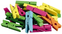 Wasknijpers - hout - mini - fluo - ass/24