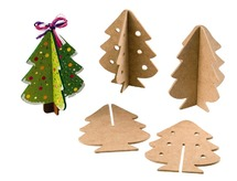 Hout - kerstboom - set/10
